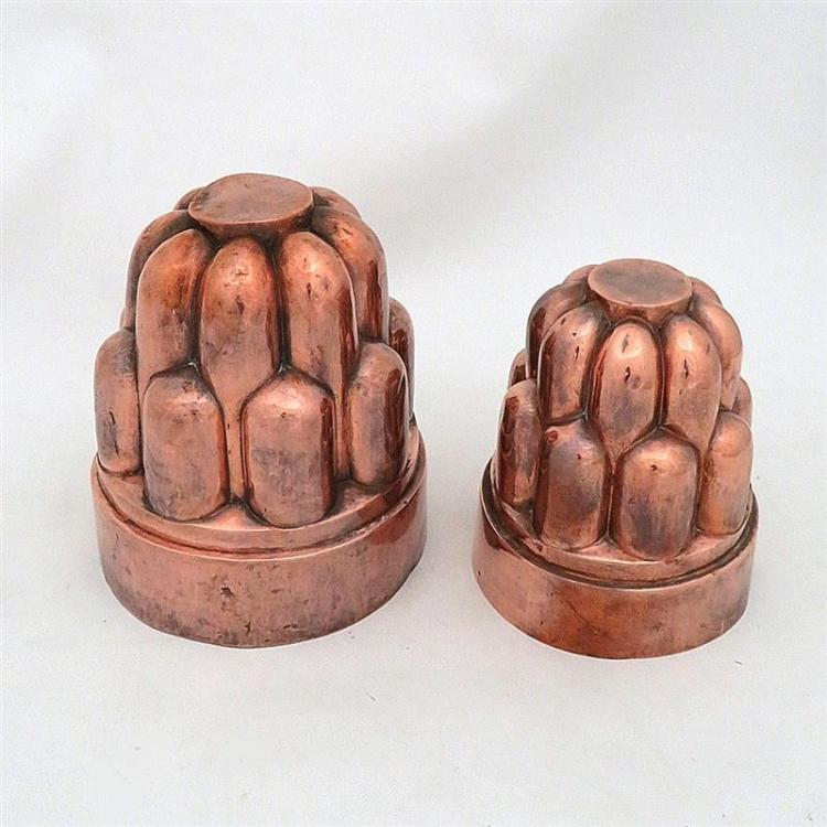 Extra large Victorian tin-lined copper moulds, one marked (2pcs)