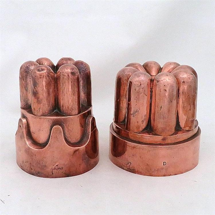 Large Victorian tin-lined copper moulds (2pcs)