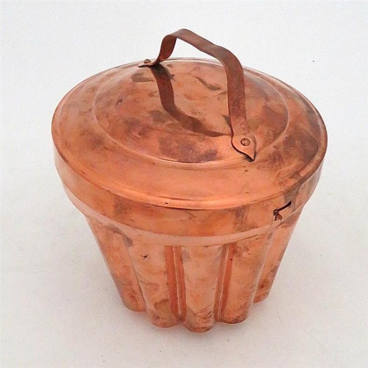 Large antique copper pudding mould
