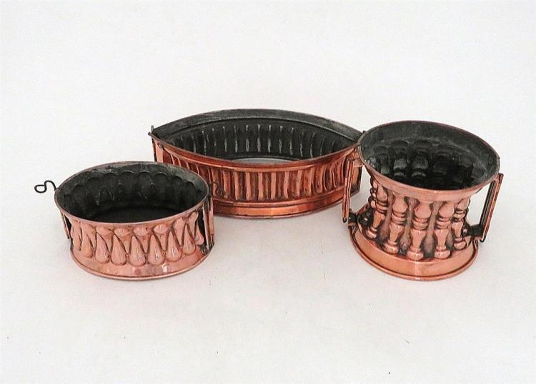 Victorian copper raised game pie moulds (3pcs)