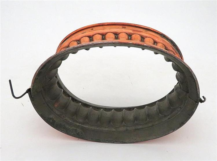 Large Victorian copper raised game pie mould