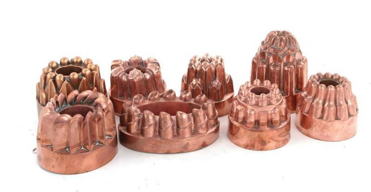 English copper culinary moulds (8pcs)