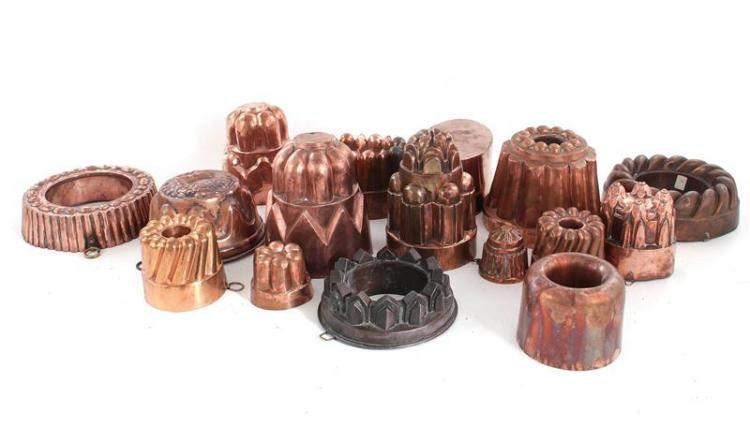 English and European copper culinary moulds (16pcs)