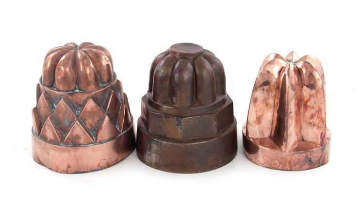 English copper large culinary moulds (3pcs)