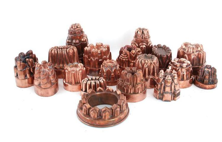 English and European copper culinary moulds (18pcs)