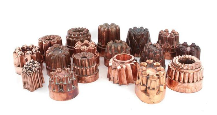 English copper culinary moulds (17pcs)