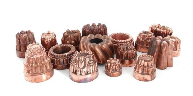 English and European copper culinary moulds (17pcs)