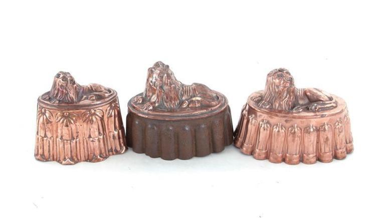 English lion-form copper moulds (3pcs)