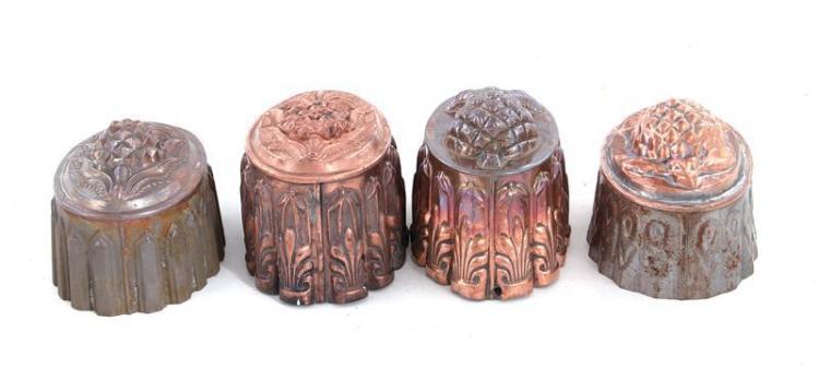 English copper pineapple pattern moulds (4pcs)