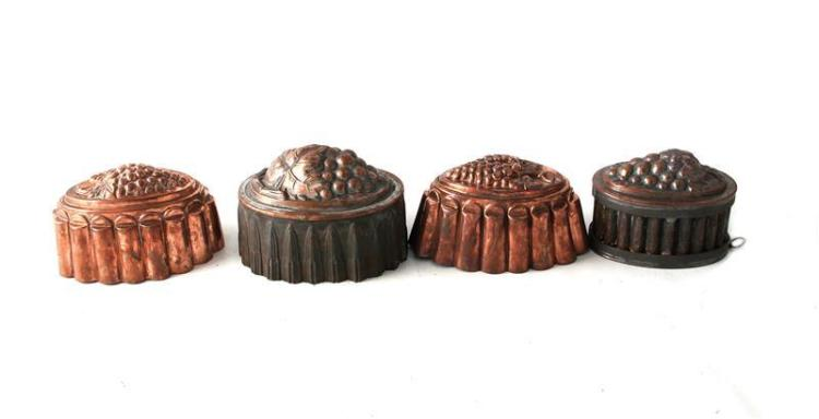 Continental grape pattern copper culinary moulds (4pcs)