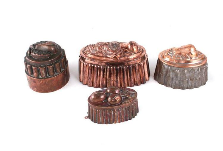 Continental fruit pattern copper culinary moulds (4pcs)