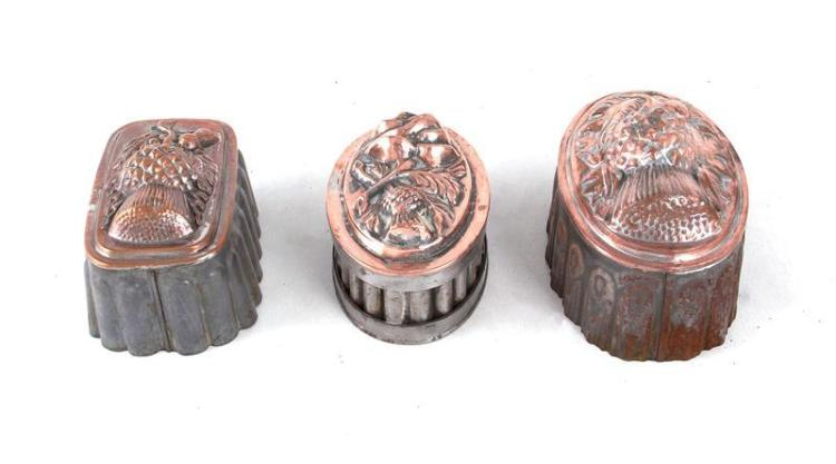 Continental thistle pattern copper culinary moulds (3pcs)
