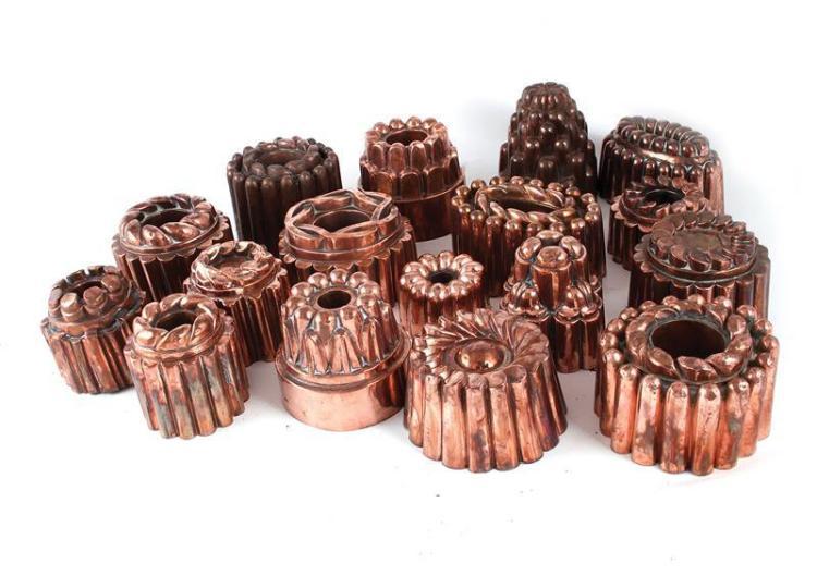 Continental copper culinary moulds (17pcs)