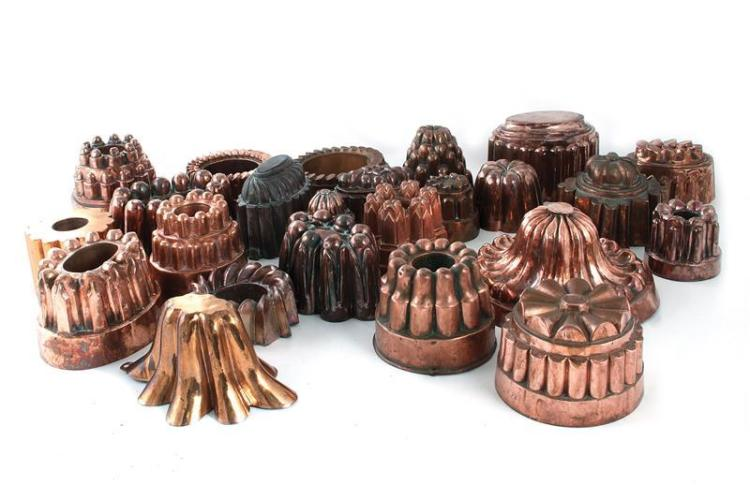 Continental copper culinary moulds (24pcs)