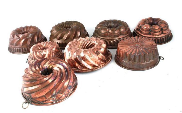 Continental copper cake moulds (8pcs)