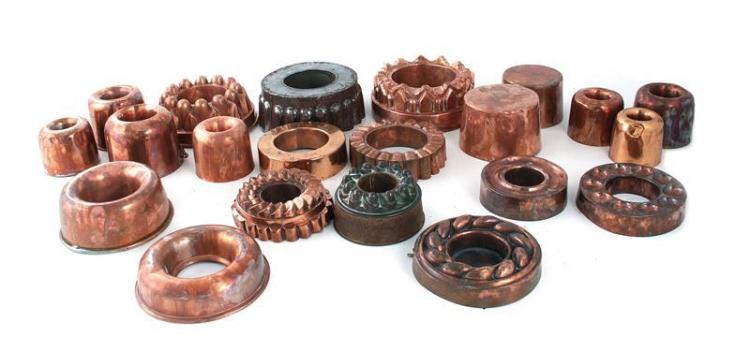 Continental copper ring culinary moulds (21pcs)