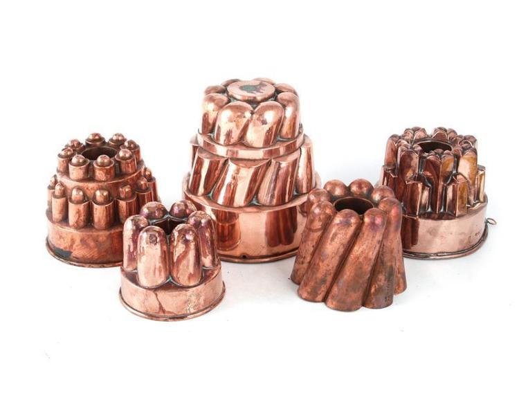 Trottier copper culinary moulds (5pcs)