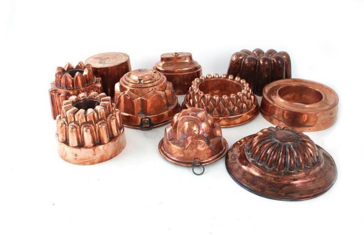 Continental copper culinary moulds (10pcs)