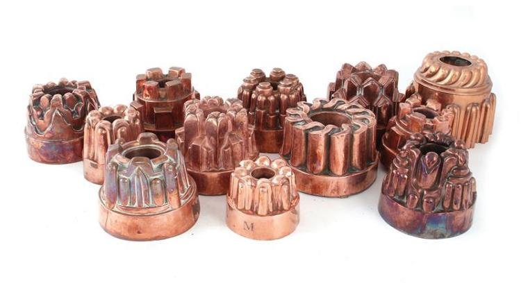 English and Continental copper moulds (12pcs)