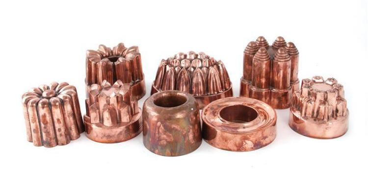 English copper moulds, marked (8pcs)
