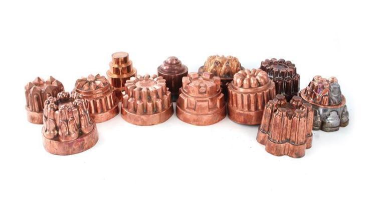 Continental copper moulds (12pcs)
