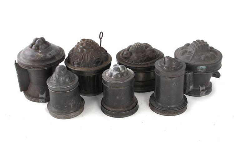 English or Continental pewter ice cream moulds (7pcs)