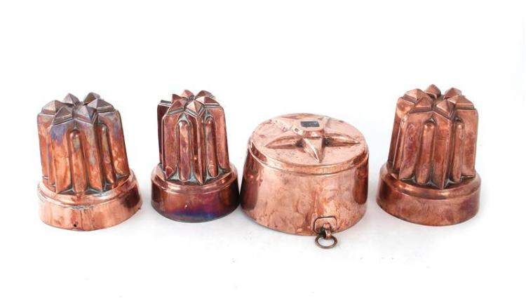 English star pattern copper culinary moulds (4pcs)