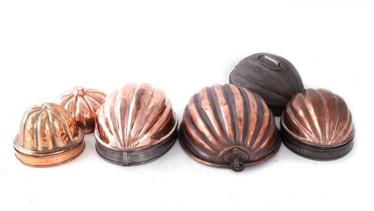 English and Continental melon-form copper moulds (6pcs)