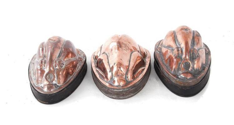English hen-form copper moulds (3pcs)