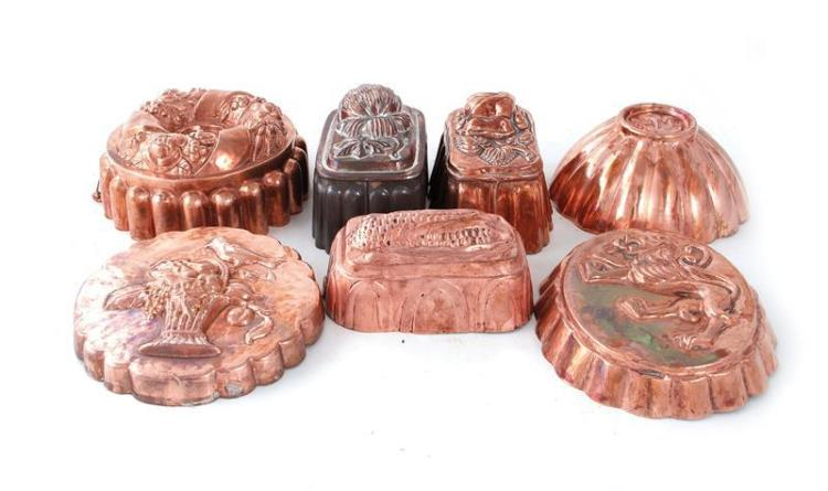 Continental copper culinary moulds (7pcs)