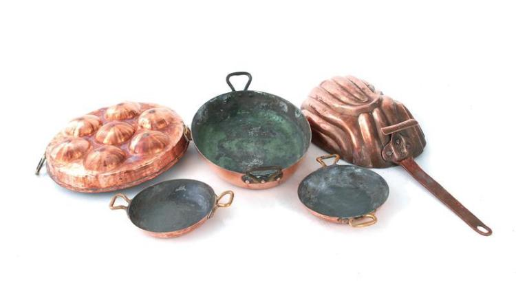 American and European copper cookware (5pcs)