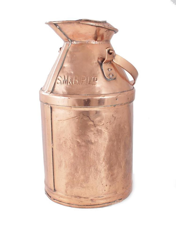 English copper milk jug