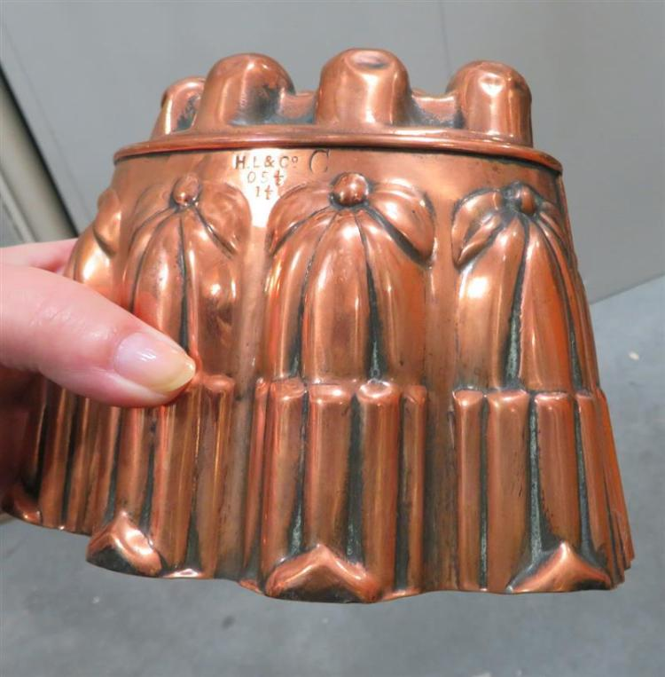 Pair Victorian tin-lined copper moulds, HL & Co (3pcs)