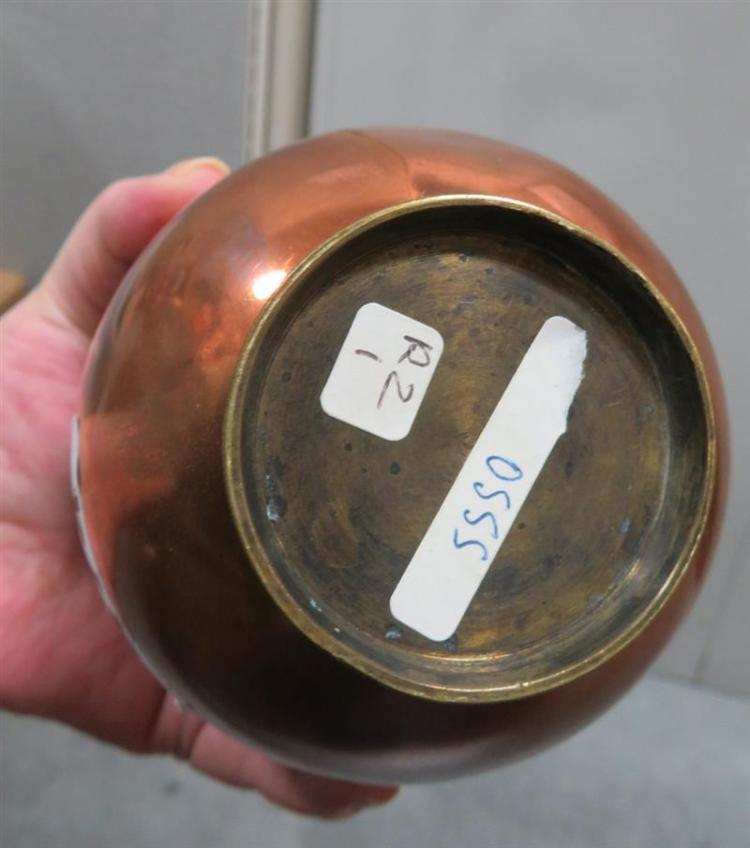 Victorian copper bombe ice moulds, signed (4pcs)