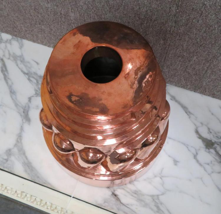 Extra large tin-lined copper culinary mould
