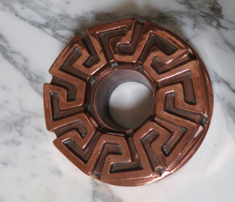 Jones Brothers tin-lined copper Greek Key mould, stamped
