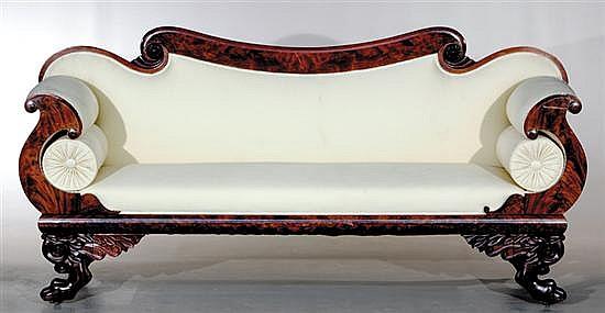 American Empire carved mahogany sofa
