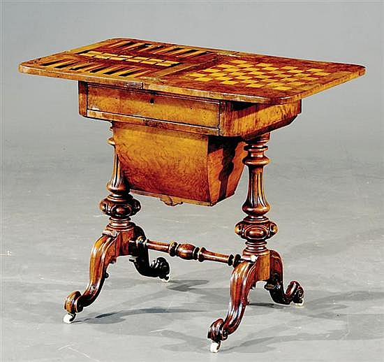 Renaissance Revival carved burl and walnut metamorphic game table