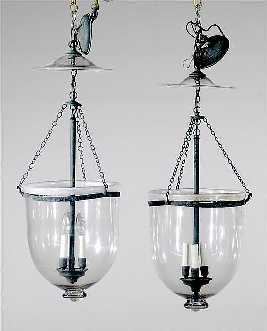 Pair American or English bell-form hall lanterns