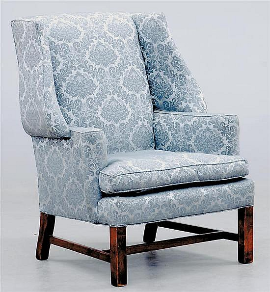 American Chippendale style wing-back chair