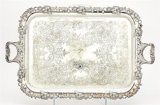 Gorham silverplate footed serving tray