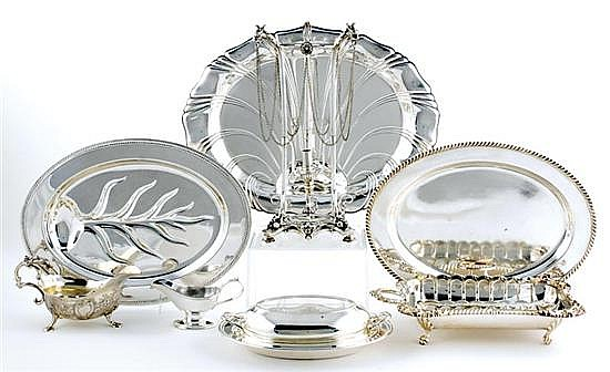 Silverplate serving trays and dishes (8pcs)