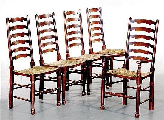 Maple and rush ladderback chairs, set of eight