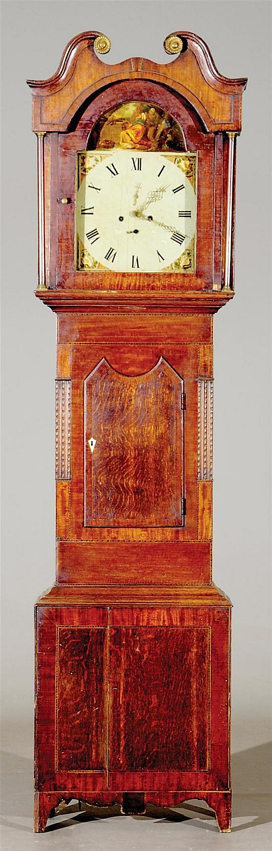 Scottish inlaid oak tall case clock