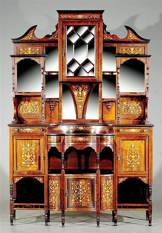 Victorian Aesthetic Movement marquetry and rosewood display cabinet