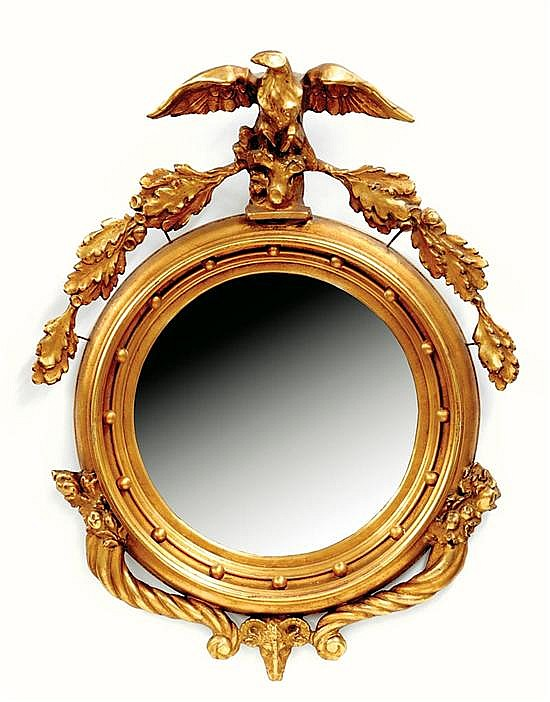 Federal style carved giltwood convex mirror