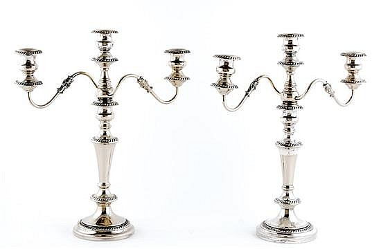 Pair American silverplate three-light candelabra