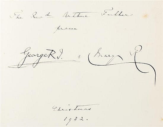 Books: King George V and Queen Mary signed and dedicated volumes (2pcs)