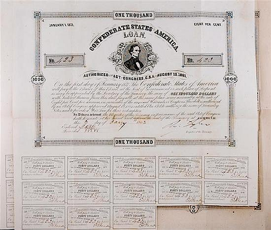 Confederate States of America loan certificates (3pcs)