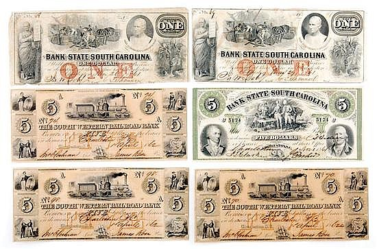 Confederate-era South Carolina bank notes (6pcs)